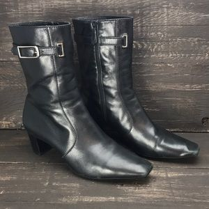 Cole Haan Black Leather Zip-up Boots Size 7.5B